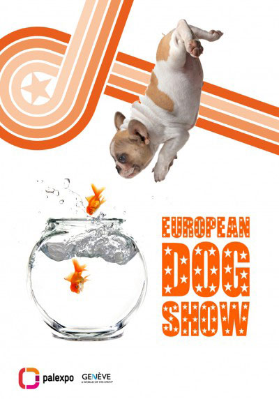 Affiche European Dog Show – Bulldog et poissons rouge